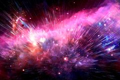 Abstract Nebula Galaxy In Space Of Night Sky With Cloud And Stars Exploding Into Space. Artistic digital smooth beautiful colorful Nebula galaxy explodes into a stock images