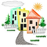 Abstract neighborhood. Colorful  assorted abstract houses fenced in illustration Stock Photography