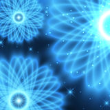 Abstract neon background. Abstract illustration - blue neon flowers Royalty Free Stock Photo