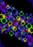 Abstract neon background. Illustration of colorful neon squares on black background Stock Illustration