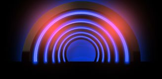 Neon background. Arch 3D rendering. Abstract neon background, minimalistic arch suspended by neon light. Neon background. Arch 3D rendering Royalty Free Stock Photography