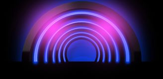 Neon background. Arch 3D rendering. Abstract neon background, minimalistic arch suspended by neon light. Neon background. Arch 3D rendering Stock Images