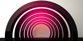 Neon background. Arch 3D rendering. Abstract neon background, minimalistic arch suspended by neon light. Neon background. Arch 3D rendering royalty free illustration