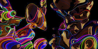Abstract neon bubbles, lava lamp on black background. Stock Photo