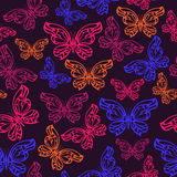 Abstract neon butterfly seamless pattern. Stock Photos
