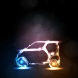 Abstract neon car vector illustration