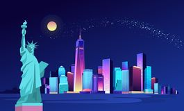 Abstract neon city. Vector illustration of a city night illuminated by neon lights. Modern buildings and skyscrapers on the waterfront, urban landscape, large royalty free illustration