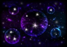 Abstract neon cosmic background. Illustration of colorful neon cosmic background with abstract planets vector illustration
