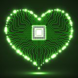 Abstract neon electronic circuit board in shape of heart. Technology background royalty free illustration