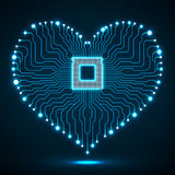 Abstract neon electronic circuit board in shape of heart Royalty Free Stock Photos