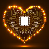 Abstract neon electronic circuit board in shape of heart. Technology background Stock Image