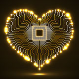 Abstract neon electronic circuit board in shape of heart. Technology background Stock Photos