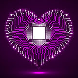 Abstract neon electronic circuit board in shape of heart. Technology background vector illustration