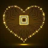 Abstract neon electronic circuit board in shape of heart. Technology background Stock Photography