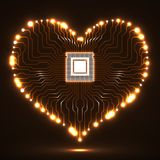 Abstract neon electronic circuit board in shape of heart. Technology background Royalty Free Stock Images