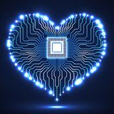 Abstract neon electronic circuit board in shape of heart. Technology background Royalty Free Stock Image