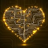 Abstract neon electronic circuit board in shape of heart Stock Images