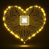 Abstract neon electronic circuit board in shape of heart. Technology background Royalty Free Stock Photos