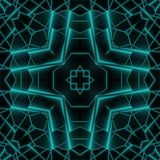 Abstract Neon Glow Geometric Square Design Stock Image