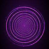 Abstract neon glowing circles on dark background. Vector design Royalty Free Stock Photos