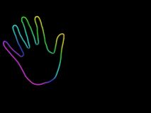 Abstract neon hand. With copy space'suitable for concepts design Stock Photos