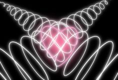 Abstract neon heart shape on dark background. Design for Happy Valentine`s Day stock photos