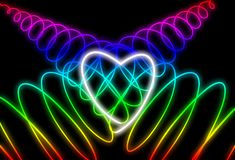 Abstract neon heart shape on dark background. Design for Happy Valentine`s Day royalty free stock image
