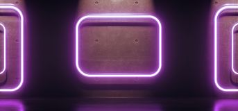 Abstract Neon Light Rectangles Tubes. 3D Rendering Of Abstract Neon Light Rectangles Tubes Interior Concrete Background With Reflection stock illustration