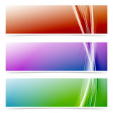 Abstract neon line colorful header footer set Royalty Free Stock Images
