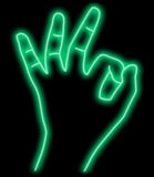 Abstract neon OK hand Stock Photo
