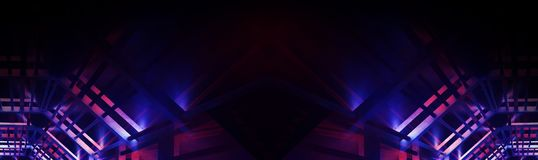 Abstract Neon Panoramic Background, Blue And Pink Color, Black, The Play Of Light. Royalty Free Stock Photos