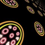 Abstract neon pizza background stock photography