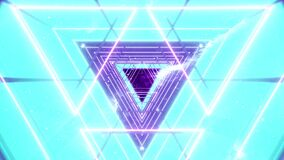Abstract neon seamless loop. Ultraviolet background with bright glowing tunnel