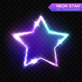Abstract Neon Star on Blue Transparent Background. Royalty Free Stock Images