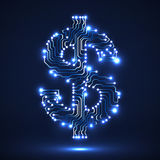 Abstract neon symbol of dollar Royalty Free Stock Images