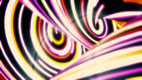Abstract neon wavy lines moving fast, motion background. Fast flowing of narrow, curved, colorful stripes, seamless loop