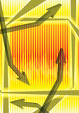 Abstract Nervous Arrow_eps. Illustration of arrows with yellow and fire background to express fluctuation Royalty Free Stock Photos