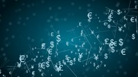 Abstract netwerk met muntteken Stock Afbeeldingen