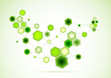 Abstract Network Background, green linked hexagons Stock Photos