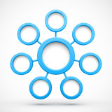 Abstract network with circles 3D Stock Image