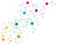 Abstract network design. With colourful dots connecting to each other Royalty Free Stock Image