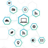 Abstract Network Design with Icons Royalty Free Stock Images