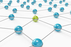 Abstract network with green ball standing out Royalty Free Stock Photo
