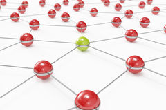 Abstract network with green ball standing out. High quality 3D render of an abstract network made out of balls with green one standing out Stock Photos