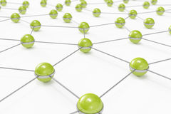 Abstract network made out of connected green balls. High quality 3D render of an abstract network made out of connected green balls Royalty Free Stock Photo