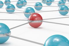 Abstract network with red ball standing out. High quality 3D render of an abstract network made out of balls with red one standing out Stock Image
