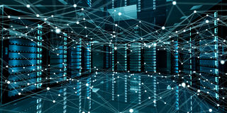 Abstract network on server room data center 3D rendering. White and blue abstract network on server room data center 3D rendering Royalty Free Stock Photography
