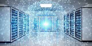 Abstract network on server room data center 3D rendering. White and blue abstract network on server room data center 3D rendering Stock Photography