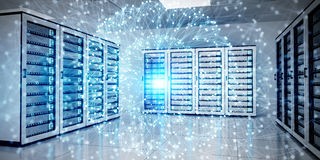 Abstract network on server room data center 3D rendering. White and blue abstract network on server room data center 3D rendering Stock Photo