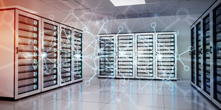 Abstract network on server room data center 3D rendering. White and blue abstract network on server room data center 3D rendering Stock Photos